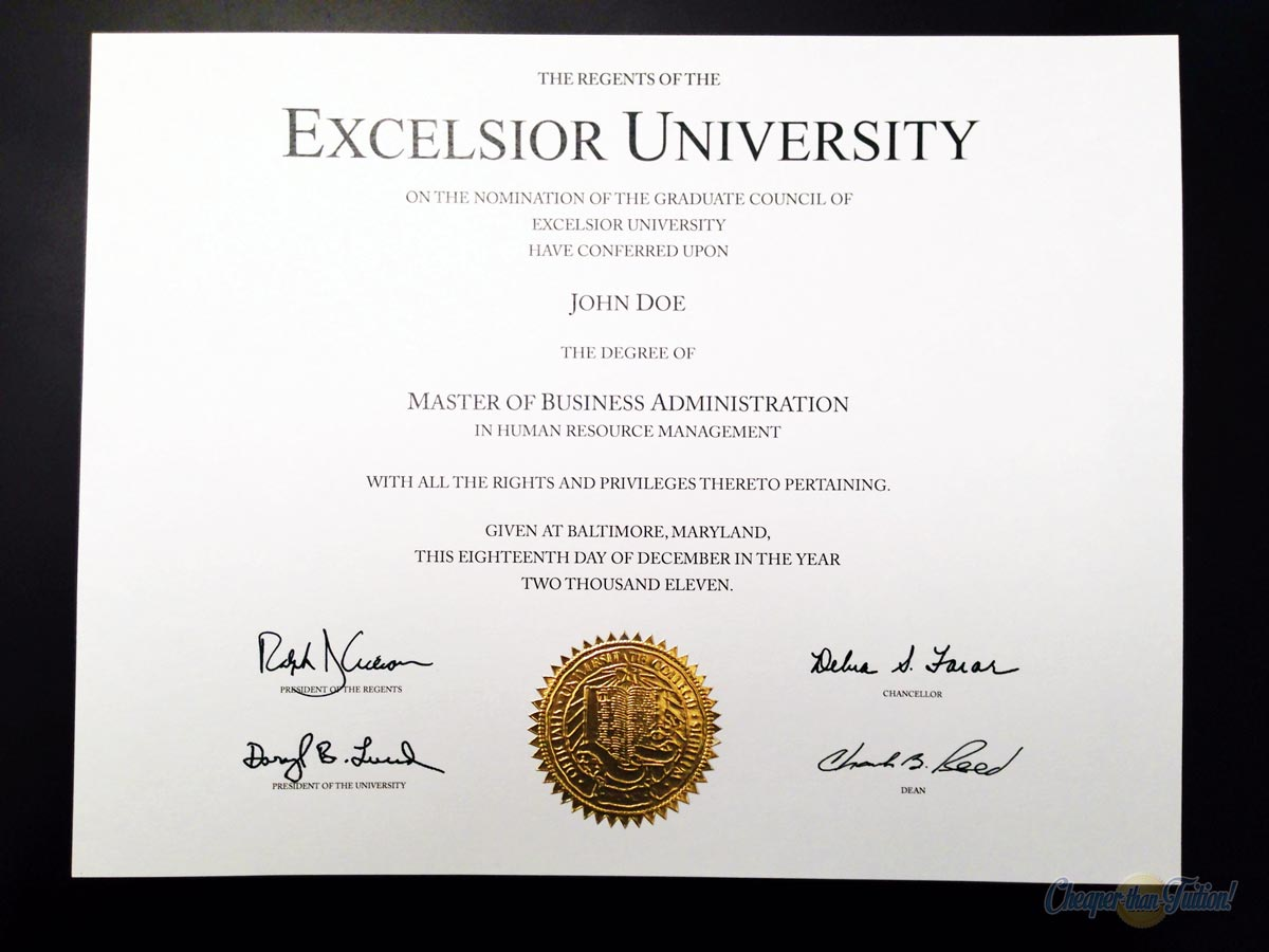 Fake MBA Diploma Sample