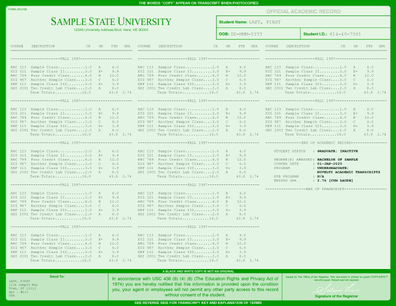 COLLEGE TRANSCRIPT TEMPLATE // T01-GREEN