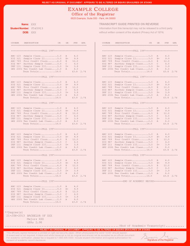 COLLEGE TRANSCRIPT TEMPLATE // T02-RED