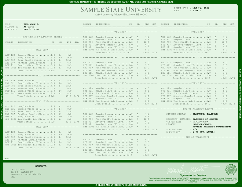 COLLEGE TRANSCRIPT TEMPLATE // T03-IVY