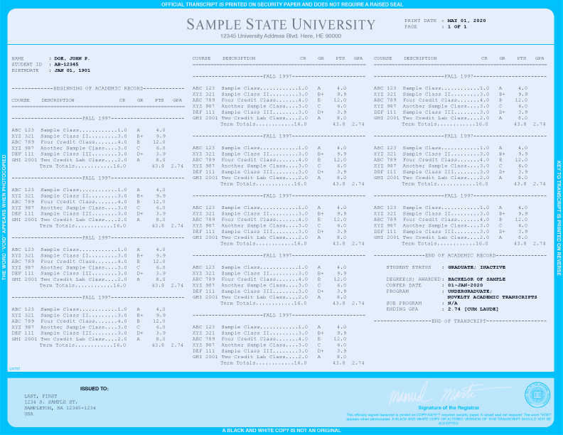 COLLEGE TRANSCRIPT TEMPLATE // T03-LIGHTBLUE