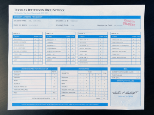 Counterfeit High School Transcript