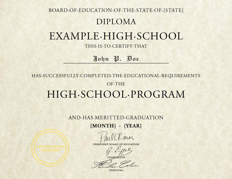 Fake State Board of Education High School Diploma
