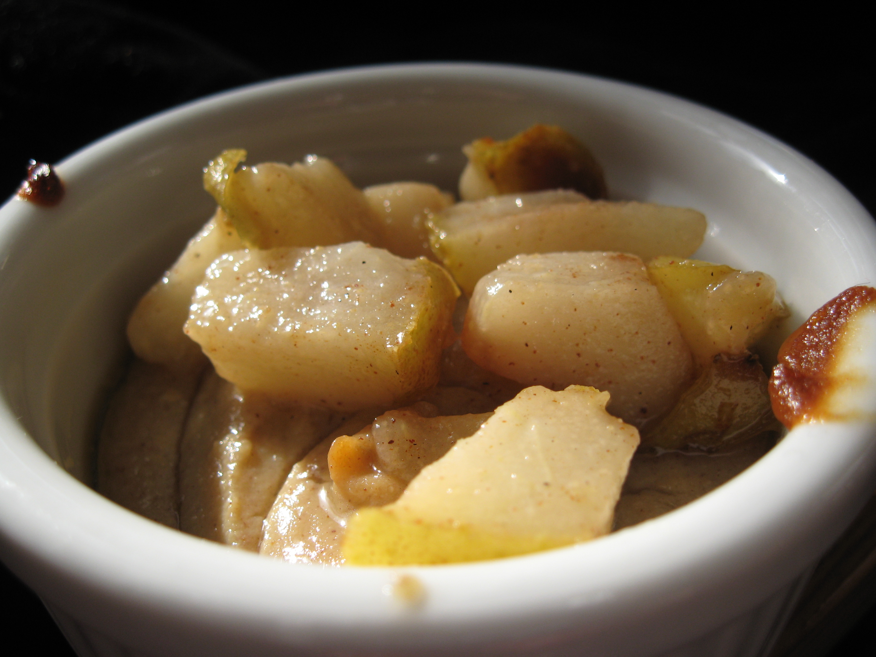 Parsnip (in place of pumpkin) Tofu Custard with Caramelized Pears