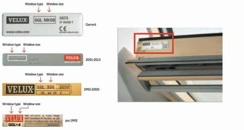 how to find your velux window size code