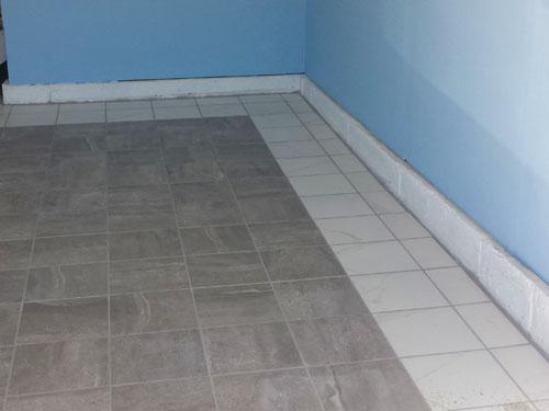 Instalaci n de piso de porcelanato en nuestro nuevo garaje - Sacar escuadra para colocar piso ...