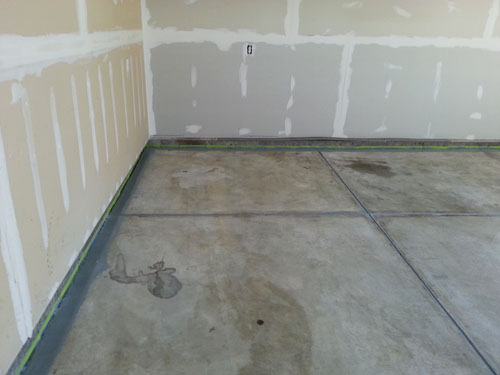 Trimmed Garage Floor Edges and contraction joints