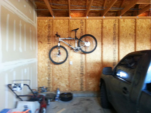 Unfinished Garage wall as it looked when I moved to the house
