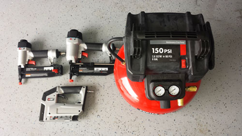 Porter cable air compressor and nail guns, one of the tools a homeowner needs for home improvement projects
