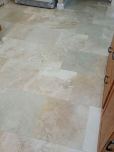 New kitchen, brick pattern travertine flooring