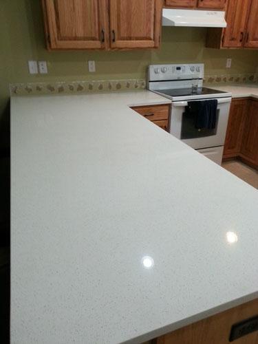 Celeste White Quartz Kitchen Countertop