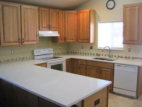 New (Celeste) White Quartz Kitchen Countertops