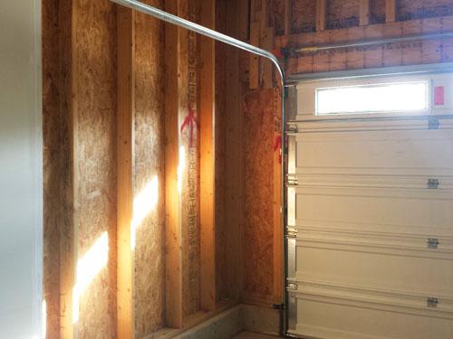 Unfinished garage walls