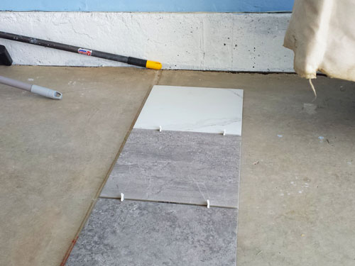 Porcelain tile garage floor preparation