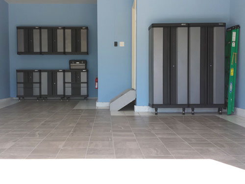 Porcelain tile and metal cabinets in the garage