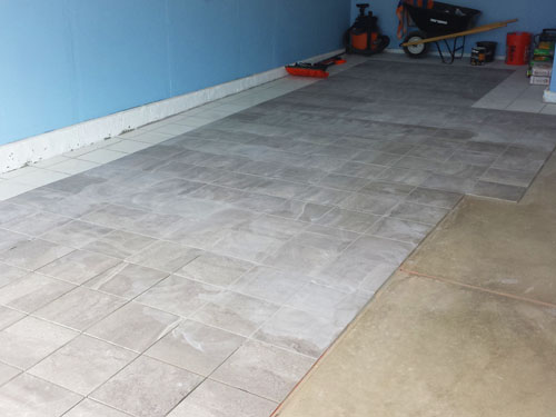 Our New White And Gray Porcelain Tile Garage Floor Installation