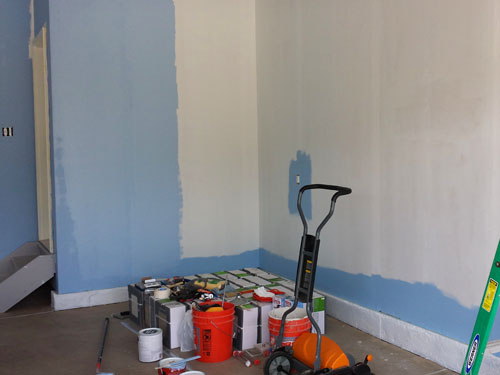 Painting garage walls light blue