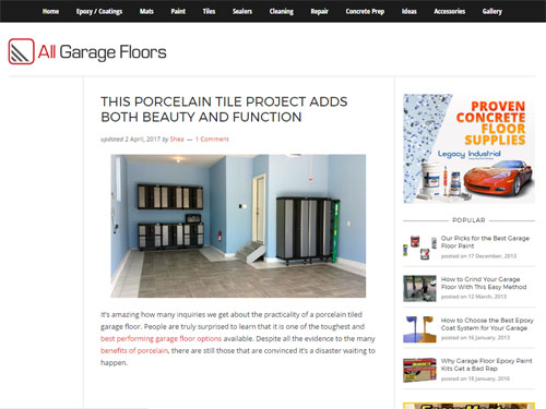 Porcelain Tile Garage Featured At All Garage Floors