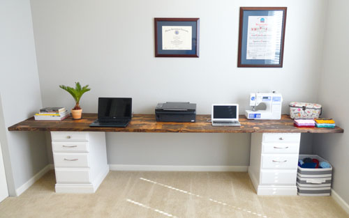 home office desk and solid wood desk top