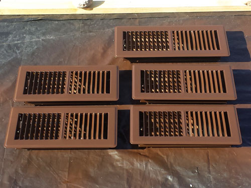 Spray painted hvac registers, vent covers