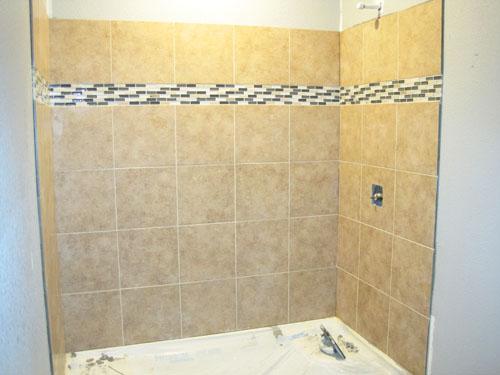 Basement shower tile