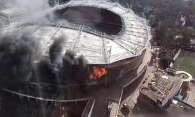 Shanghai Shenhua's Hongkou Football Staduim Damaged By Fire 4