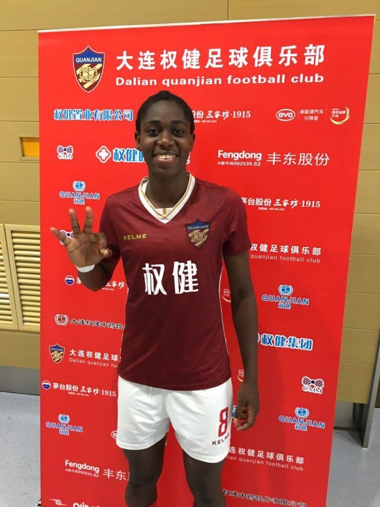 Asisat Oshoala Scored An Incredible Hat-Trick In Dalian Quanjian's 4-0 Win Over Shandong JFSS 4