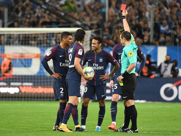 Neymar Sent Off In thrilling 'Le Classique' Clash, As Cavani Rescue PSG From First Loss 11