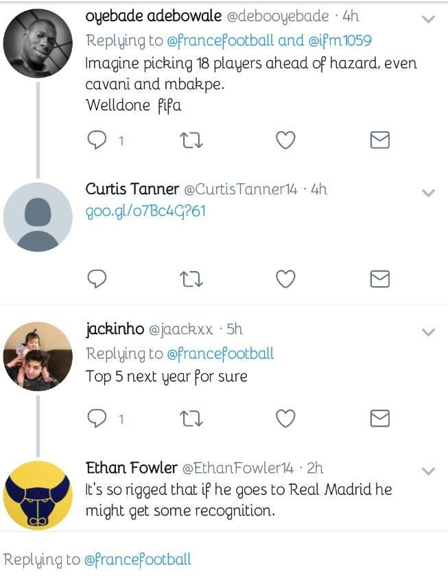 Chelsea Fans Fume Bitterly Over Hazard's Shocking Ballon d'Or Ranking 15