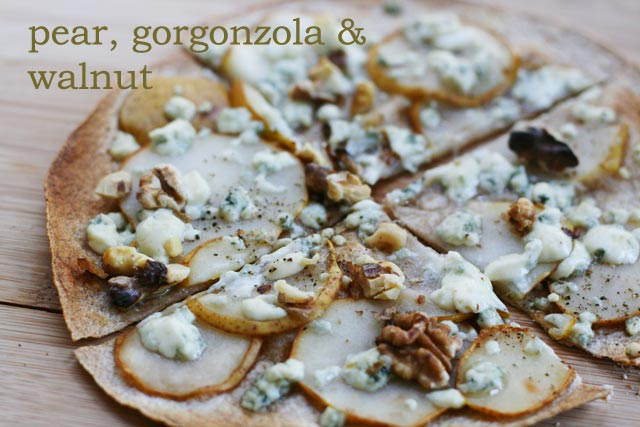 Tortilla shell pizza recipe: Pear, Gorgonzola and Walnut. Repin to save!