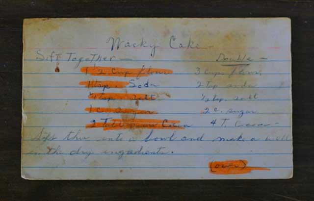 Vintage recipe card: Wacky cake recipe