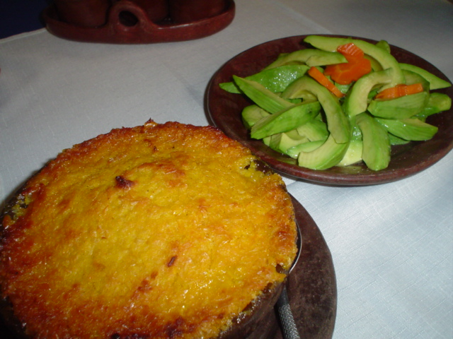 The real deal: Pastel de choclo and avocado salad in Pomaire, Chile.