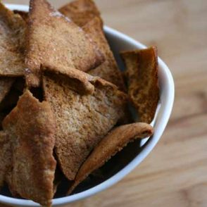 Homemade pita chips from leftover pita bread. Click through for recipe.