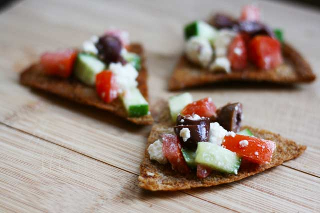 Homemade pita chips recipe with Greek toppings