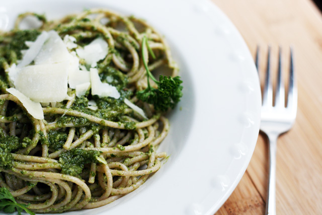 """Parsley pesto, also known as """"poor man's pesto"""" because it's so cheap to make! Click through for recipe."""