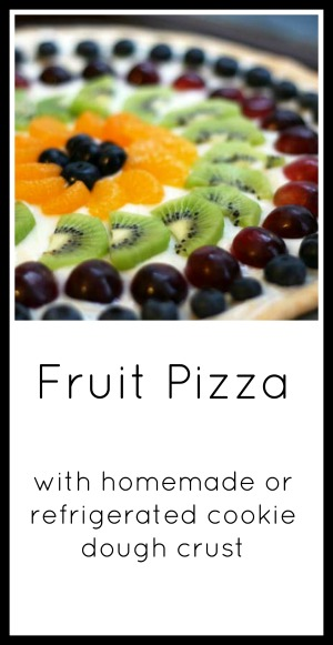 Fruit pizza recipe (homemade and refrigerated cookie dough crust instructions included). Click through for recipe!