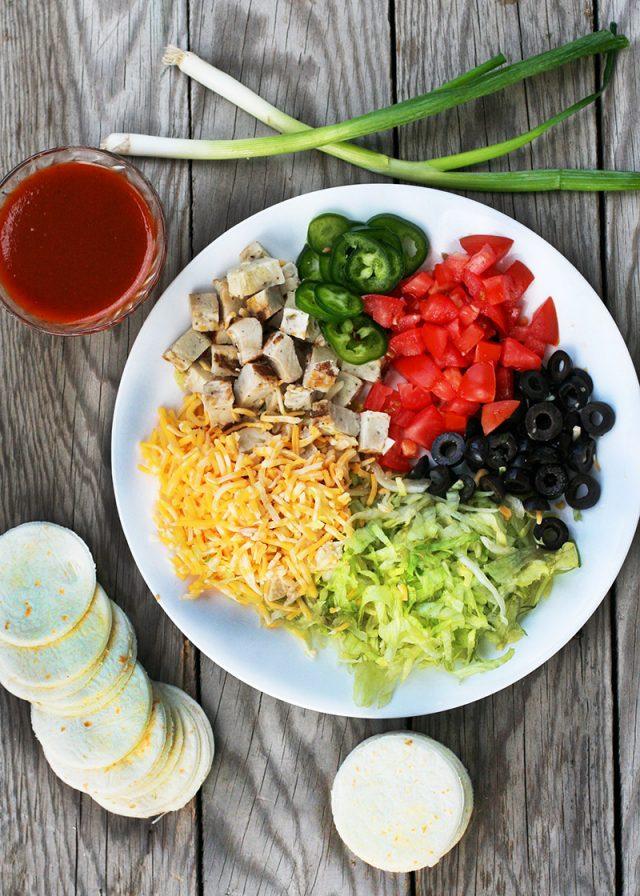 Ingredients to make mini enchilada stacks: The perfect use-up-leftover recipe!