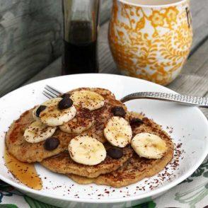 Banana oat pancakes recipe: A simple, gluten-free, not overly sweet pancake recipe.