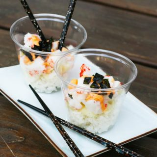 California roll salad: All of the ingredients of a California roll, in salad form! Easier to make than sushi.