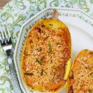 Cheese and tomato stuffed spaghetti squash: An easy and cheap squash recipe!