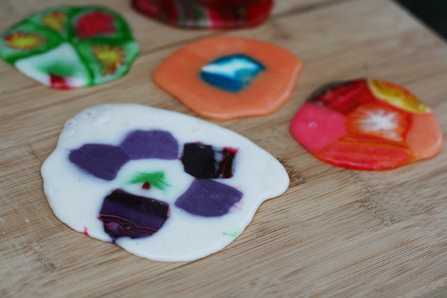 Melted candy ornaments. Make beautiful color combinations and shapes using old-fashioned hard candy.