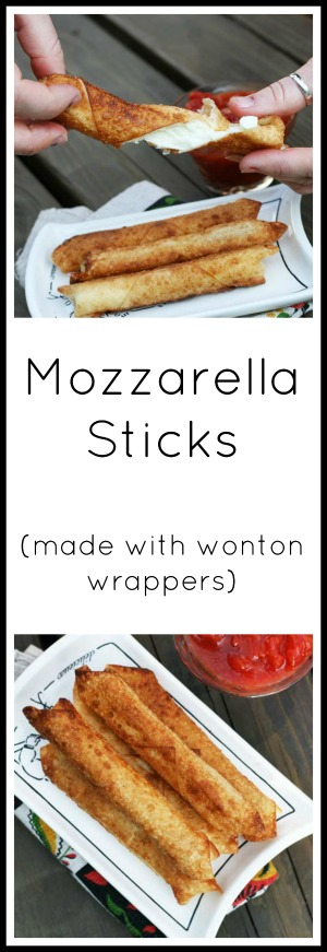 Wonton wrapper mozzarella sticks. Click through for simple instructions. Just 2 ingredients!