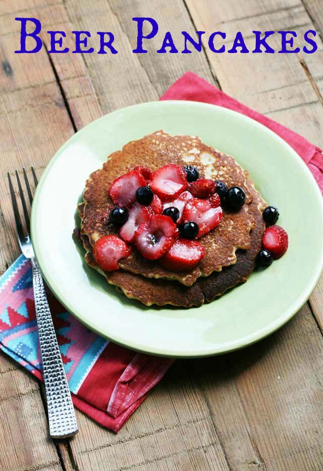 Beer pancake recipe with macerated strawberries and blueberries