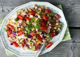 Summery kitchen sink salad recipe with creamy BBQ dressing