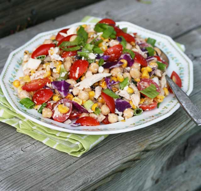 Summery kitchen sink salad with creamy BBQ dressing