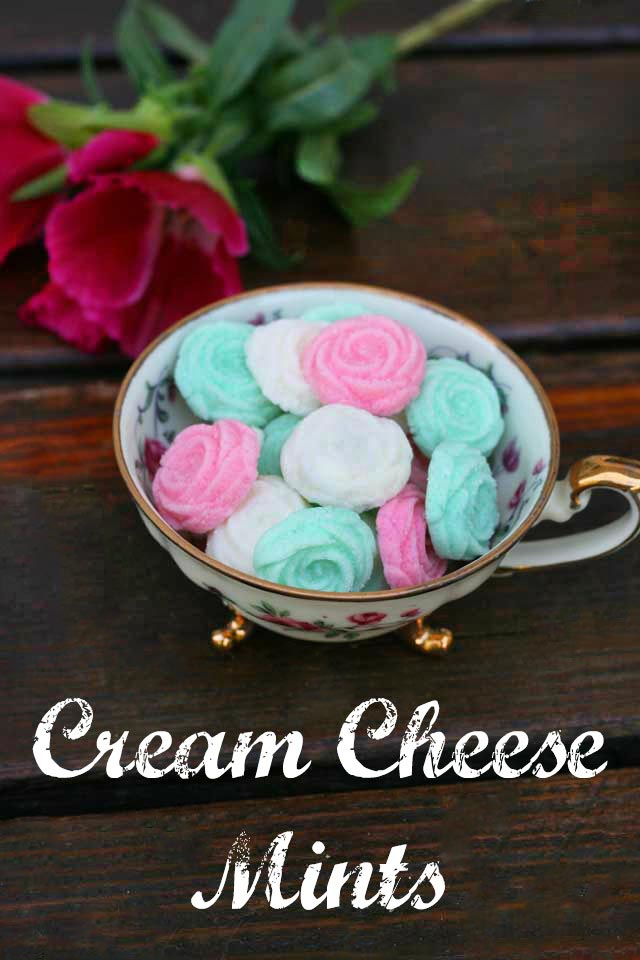 Homemade cream cheese mints: The old-fashioned favorite, can be colored and flavored in different ways, and made into different shapes.