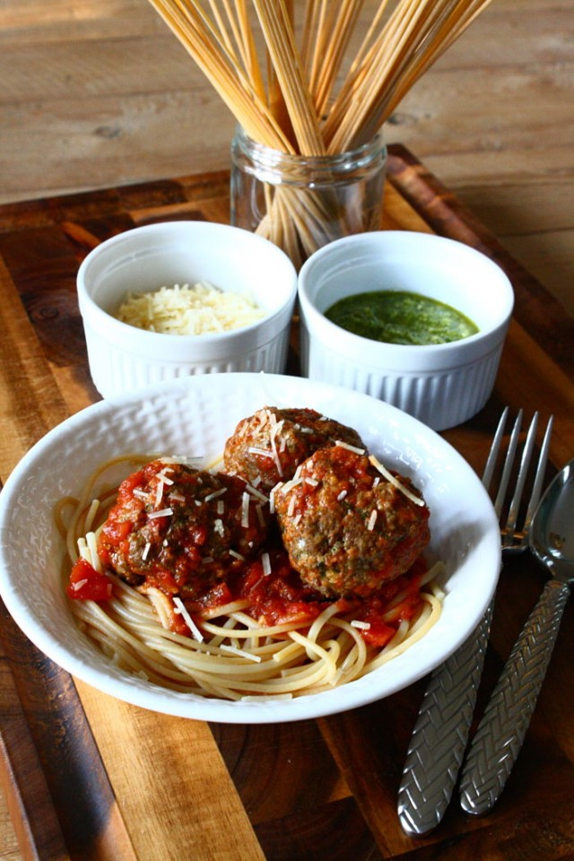 Pesto-Parmesan meatballs recipe