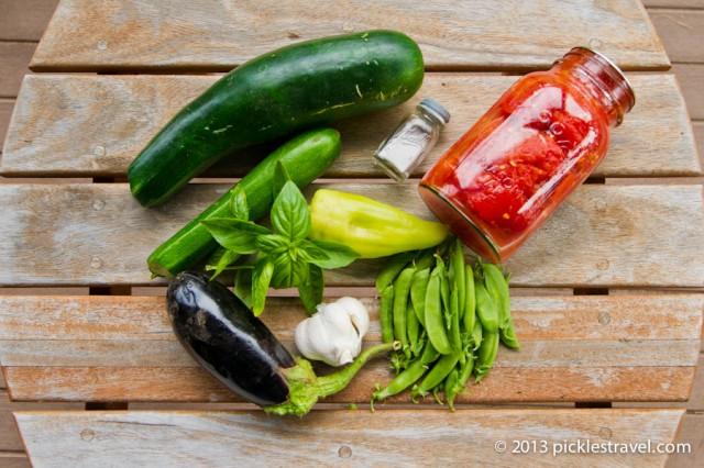 Ingredients for farm fresh spaghetti