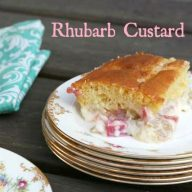 Rhubarb custard cake from Cheap Recipe Blog