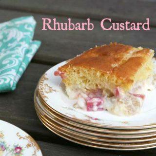 Rhubarb custard cake from Cheap Recipe Blog